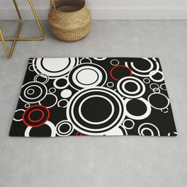 Retro Red And White Circles Rug