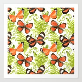 Ferns and Butterflies Art Print