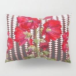 MODERN ART RED HOLLYHOCKS BOTANICAL Pillow Sham