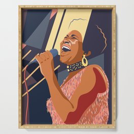 Aretha Franklin Portrait Serving Tray