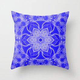 Blue Lace Mandala Throw Pillow