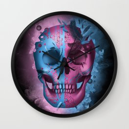 skull black art decor Wall Clock