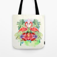 flamingo Tote Bags featuring Flamingo by Kangarui by Rui Stalph
