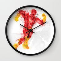 the flash Wall Clocks featuring Flash by Kacper Kieć