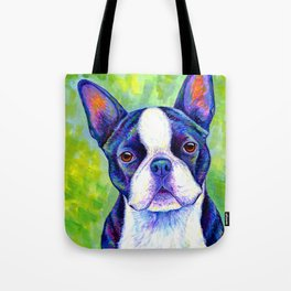 Colorful Boston Terrier Dog Tote Bag
