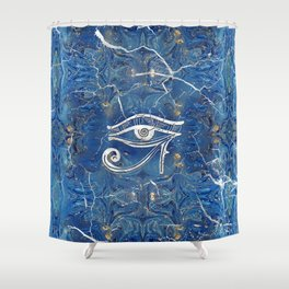 Silver Egyptian Eye of Horus  on blue marble Shower Curtain