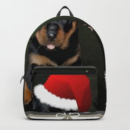 Tis The Season To Be Jolly Cute Rottweiler Christmas Backpack