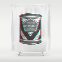 soviet Shower Curtains featuring Condensed Milk (Sgushchennoye Moloko)  3D by Karolis Butenas