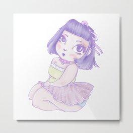 Pastel Girl purple and white Metal Print