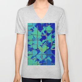 Abstract Squares Blue & Green Unisex V-Neck