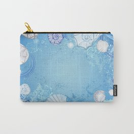 Blue background with seashells Carry-All Pouch