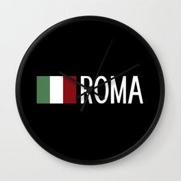 Italy: Italian Flag & Roma Wall Clock