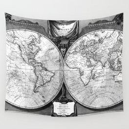 Black and White World Map (1808) Wall Tapestry