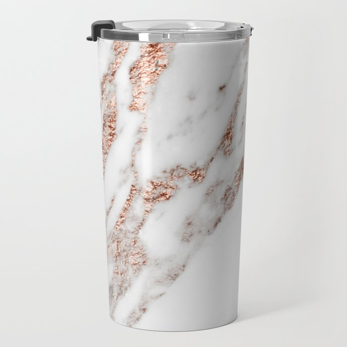 Rose gold foil marble Travel Mug