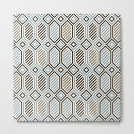 Striped Hexagons Metal Print