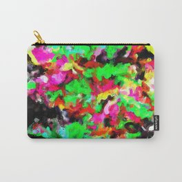 psychedelic splash painting abstract texture in pink green yellow black Carry-All Pouch