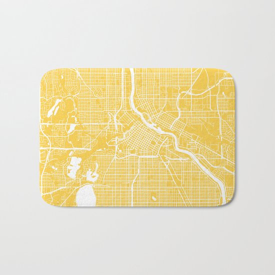 Minneapolis map yellow Bath Mat