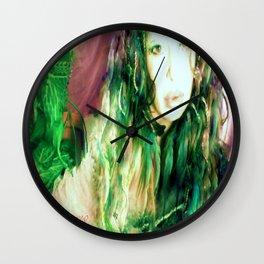Fairy feather  fairy goddess green feathers  kashmir,art print  Wall Clock