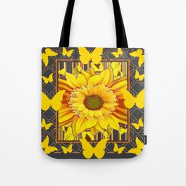 YELLOW BUTTERFLIES SUNFLOWER  CHARCOAL GREY Tote Bag