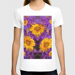YELLOW SUNFLOWERS AMETHYST FLORALS T-shirt