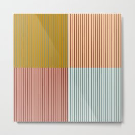 Stripes and Squares Geometric Metal Print