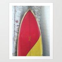 surfboard Art Prints featuring surfboard by Steve Coleman Photo