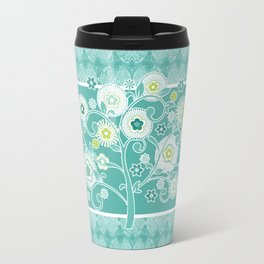 Watercolor Damask Pattern, Aqua Blue Scroll Swirls  Travel Mug