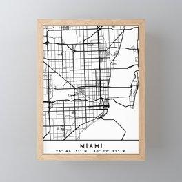 MIAMI FLORIDA BLACK CITY STREET MAP ART Framed Mini Art Print