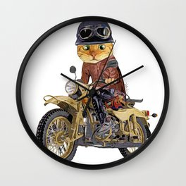 Cat riding motorcycle Wall Clock