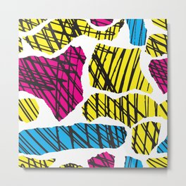 colorful modern teen brush collage Metal Print