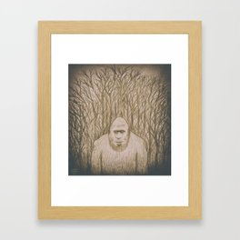 Sasquatch in the woods Framed Art Print
