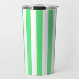 Algae Green and White Vertical Beach Hut Stripes Travel Mug