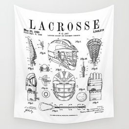 Lacrosse Player Equipment Vintage Patent Drawing Print Wall Tapestry