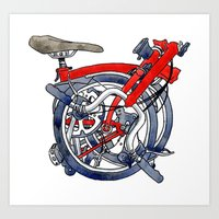 brompton Art Prints featuring Brompton Folded Red by Diana Powell