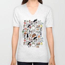 Kawaii Ghibli Doodle Unisex V-Neck