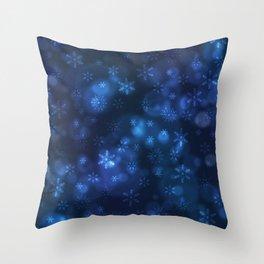 Blue Snowflakes Winter Christmas Pattern Throw Pillow