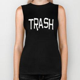Trash print white Biker Tank