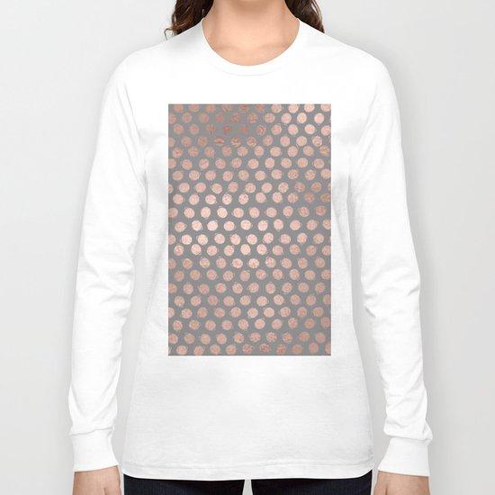 Handpainted Rosegold polkadots on grey background Long Sleeve T-shirt