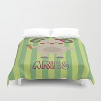 aries Duvet Covers featuring Aries by Esther Ilustra