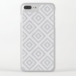 Stair Step Diamond Geometric Tribal in Grey Clear iPhone Case