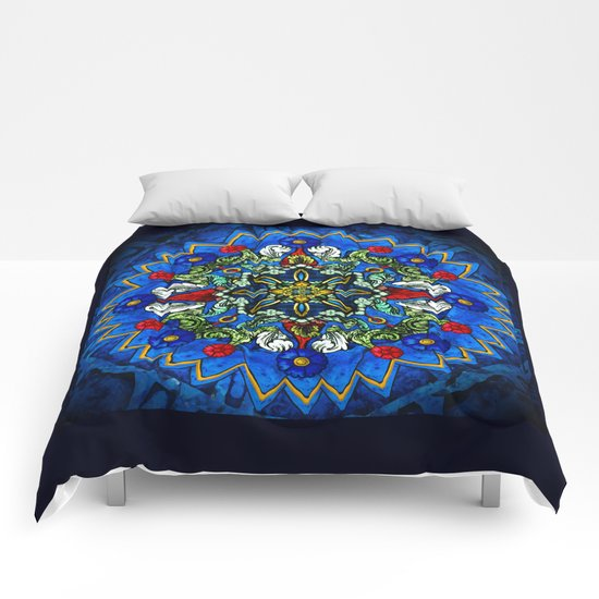 Lighted Rose Window Collage Comforters