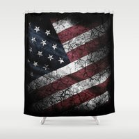 american flag Shower Curtains featuring AMERICAN FLAG by Happi Anarky