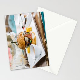 Burger in Vibrant Setting Stationery Cards