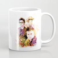 david tennant Mugs featuring David Tennant / Tenth Doctor Mixed Media Digital Painting by Purshue
