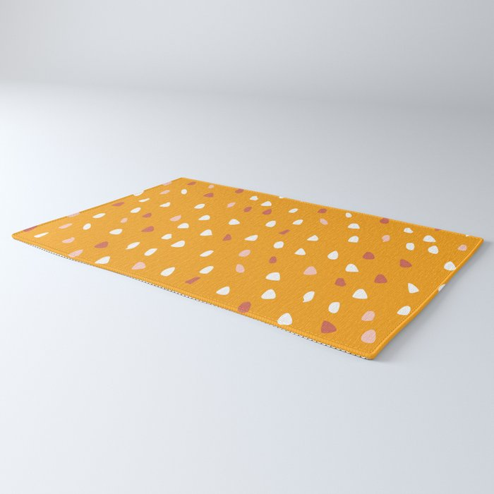 Abstract Speckled Dots Modern Pattern, Yellow Rug