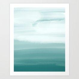 Ocean Sky // Surf Waves Teal Blue Green Water Clouds Watercolor Painting Beach Bathroom Decor Art Print