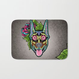 Doberman with Cropped Ears - Day of the Dead Sugar Skull Dog Bath Mat