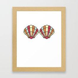 Mermaid Seashell Bra Funny Fake Brassiere Summer Framed Art Print