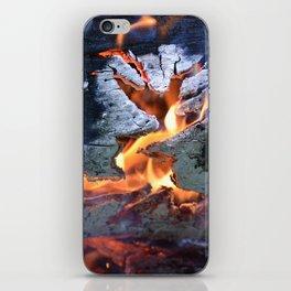 black white and flame iPhone Skin