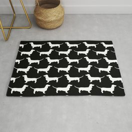 Dachshund Silhouette Black and White Pattern Rug